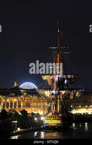 France, South-Western France, Bordeaux, l'Hermione (replica ship of a Concorde class frigate of the French Navy), - Stock Photo