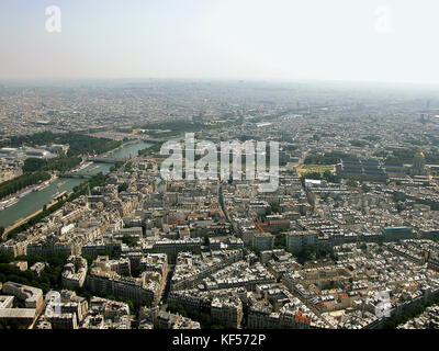 The view east over Paris, France, along the Seine from the Eiffel Tower - Stock Photo