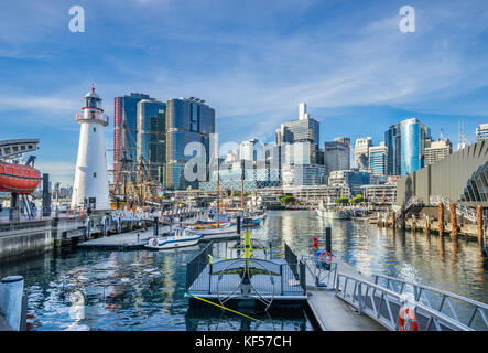 Australia, New South Wales, Sydney, Darling Harbour, view from the Maritime Museum waterfront with Cape Bowling - Stock Photo