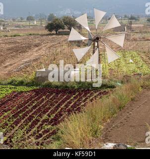Windmill on the Lasithi plateau Crete, Greece. October 2017. Windmills pump water to this Cretan fertile area - Stock Photo