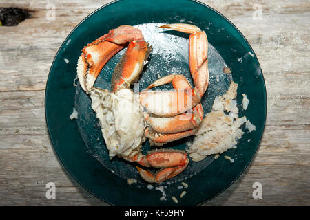 Half a cooked marine crab on a plate showing a single large pincer or claw and legs with extracted meat - Stock Photo