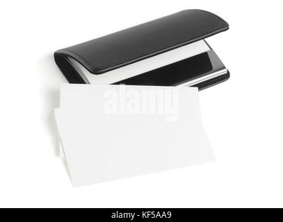 Blank Business Name Cards and Black Holder with Copy Space on White Background - Stock Photo