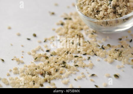 Hemp (Cannabis sativa) seeds or heart - natural and nutritious dietary supplement suitable for vegans, vegetarians, - Stock Photo