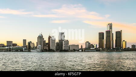 Detroit, MI, USA - 2nd October 2016:  Detroit City Skyline at dusk as viewed from Windsor, Ontario, Canada. - Stock Photo
