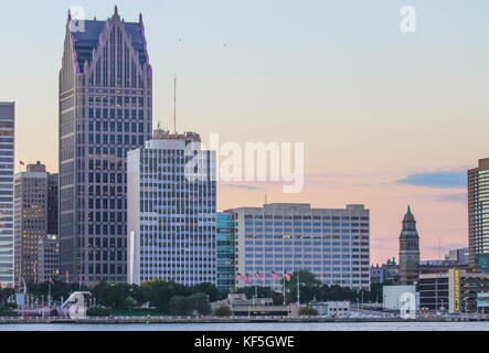 Detroit, MI, USA - 2nd October 2016: Iconic Detroit Waterfront Builidings along the Detroit River at dusk. - Stock Photo
