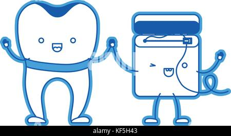 Implant Tooth And Dental Floss In Cartoon Holding Hands Blue Silhouette