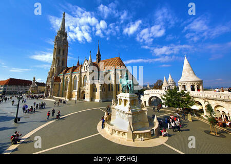 The Fisherman's Bastion and the Matthias Church in Budapest, Hungary - Stock Photo