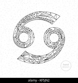 Cancer zodiac sign. Vector hand drawn horoscope illustration. Astrological coloring page. - Stock Photo