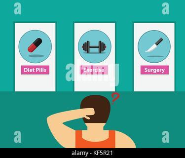 Fat man choosing way to lose weight, vector design - Stock Photo
