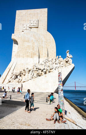 Lisbon Portugal Belem Tagus River Padrao dos Descobrimentos Monument of the Discoveries Henry the Navigator waterfront - Stock Photo