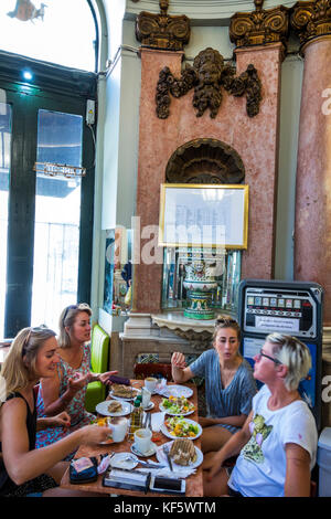 Lisbon Portugal Bairro Alto historic district Principe Real Catedral do Pao bakery cafe bistro decor Art Noveau - Stock Photo