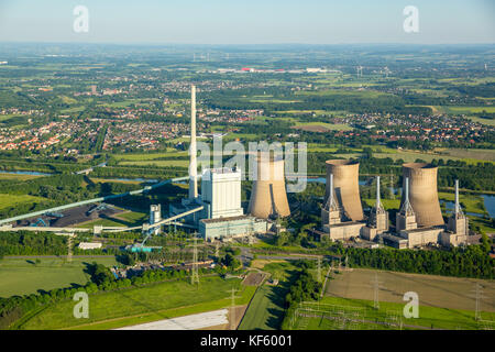 Germany, Europe, coal-fired power station, cooling tower, aerial photo, aerial photo, aerial photo, aerial photo, - Stock Photo