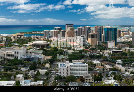 Downtown Honolulu from the National Memorial Cemetery of the Pacific (Punchbowl Cemetery) in Honolulu, Hawaii - Stock Photo