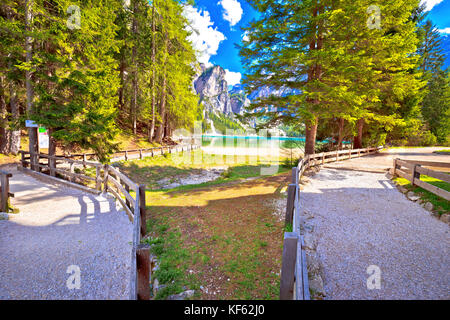 Lago di Braies walking paths, Dolomite Apls, South Tyrol region of Italy - Stock Photo