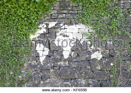 Painted world map stock photo 53747206 alamy old stone wall with ivy as background and with painted world map sign stock gumiabroncs Gallery