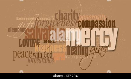 Graphic typographic montage illustration of the Christian concept of Mercy composed of associated defining words - Stock Photo