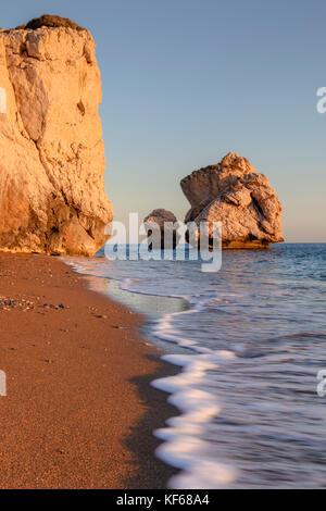 Petra tou Romiou, Aphrodite's Rock, Paphos, Cyprus - Stock Photo