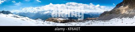 Ultra wide panorama of popular alpine ski resort Madonna di Campiglio, Italy - Stock Photo