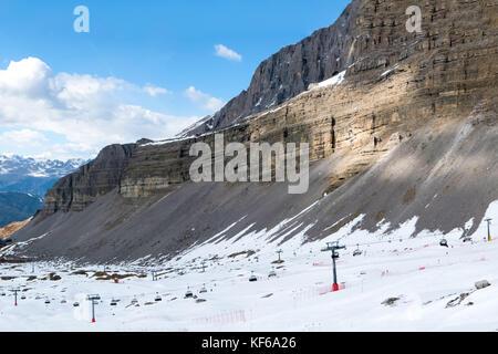 Cliff of alpine mountain range in popular ski resort Madonna di Campiglio, Italy - Stock Photo