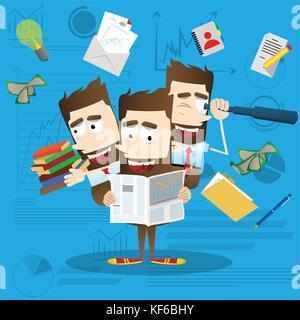 Multitasking businessman. Vector cartoon character illustration. Business concept. - Stock Photo