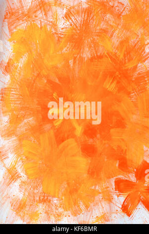 Abstract hand drawn paint background: red floral patterns on orange backdrop. Great for art texture, grunge design, - Stock Photo