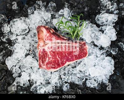 Raw fresh meat t-bone steak on chipped ice - Stock Photo