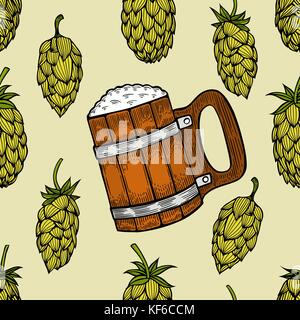 Seamless background with a pattern of hand drawn old wooden barrels for beer - Stock Photo