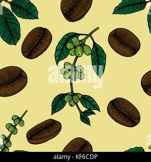 Coffee flowers and berries seamless texture. Hand drawn illustration in sketch style. - Stock Photo