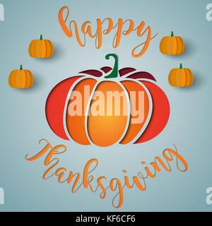 Happy thanksgiving card with paper cut style pumpkins - Stock Photo