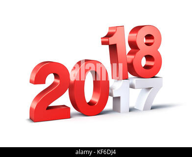 Red 2018 typescript date above 2017, isolated on white - 3D illustration - Stock Photo