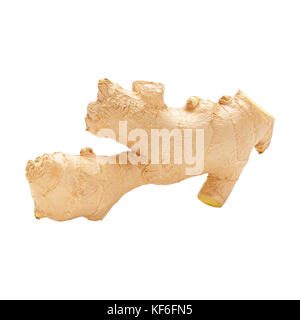 One fresh not peeled ginger root isolated on white. Side view - Stock Photo