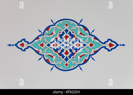 Colorful decorative plant motif from an Ottoman style mosque. - Stock Photo