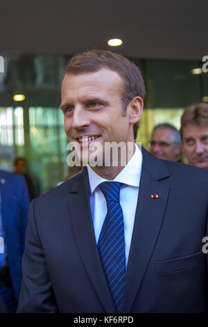 Paris, France. 25th Oct, 2017. French President Emmanuel Macron seen at the university campus. French President - Stock Photo