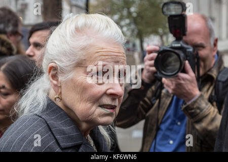 London, UK. 26th Oct, 2017. 9-year old Oliver Simpson with fashion designer Vivienne Westwood and Joseph Corré outside - Stock Photo