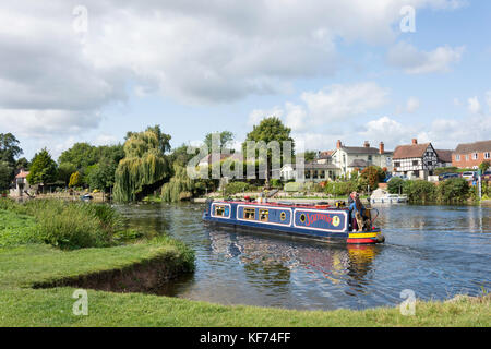 Canal boat on River Avon, The Big Meadow, Bidford-on-Avon, Warwickshire, England, United Kingdom - Stock Photo
