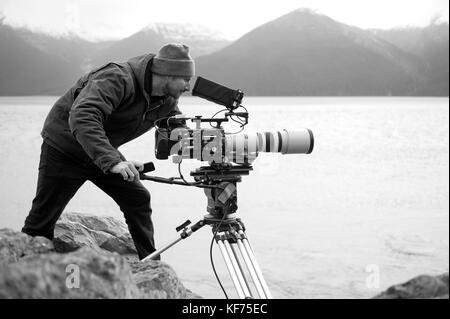 Nick Sevander, DP. working with the Phantom 4K high speed videw camera for some specialized slow motion video of - Stock Photo