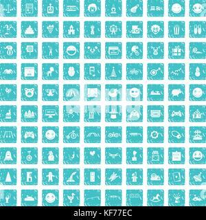100 funny icons set grunge blue - Stock Photo