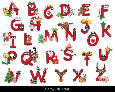red christmas alphabet with happy letters - Stock Photo