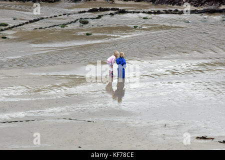 two very young children standing on the wet sand on a beach in Cornwall playing at the seaside on a sandy beach. - Stock Photo