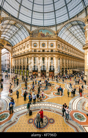 Galleria Vittorio Emanuele II shopping mall, Milan, Lombardy, Italy - Stock Photo