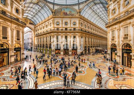 Galleria Vittorio Emanuele II shopping mall, Milan, Lombardy, Italy - Stock Photo