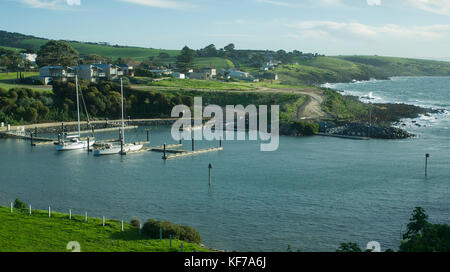 View of the town of Penneshaw on Kangaroo Island in South Australia during winter. - Stock Photo
