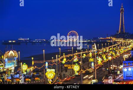 Blackpool illuminations along the Golden mile, Lancashire, England, UK - Stock Photo