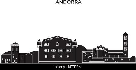Andorra architecture vector city skyline, travel cityscape with landmarks, buildings, isolated sights on background - Stock Photo