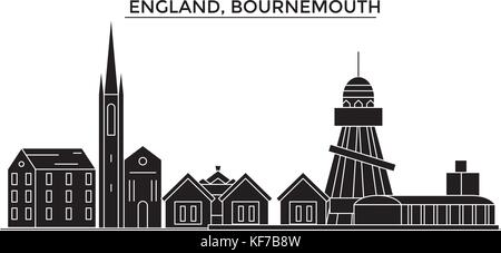 England, Bournemouth architecture vector city skyline, travel cityscape with landmarks, buildings, isolated sights - Stock Photo