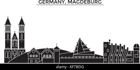 Germany, Magdeburg architecture vector city skyline, travel cityscape with landmarks, buildings, isolated sights - Stock Photo