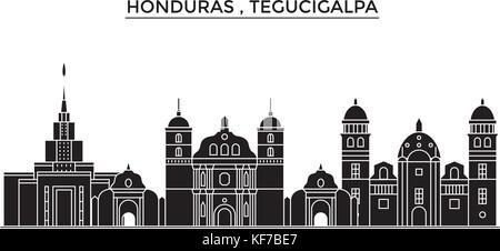 Honduras , Tegucigalpa architecture vector city skyline, travel cityscape with landmarks, buildings, isolated sights - Stock Photo