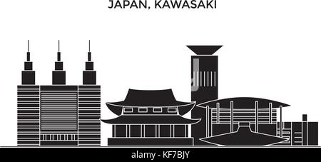 Japan, Kawasaki architecture vector city skyline, travel cityscape with landmarks, buildings, isolated sights on - Stock Photo