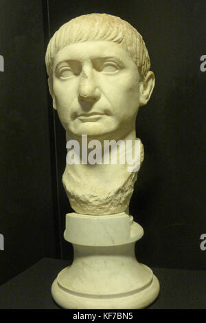 Sculpture portrait of the Roman Emperor, Trajan, early second century A.D. on display in the Archaeological Museum - Stock Photo