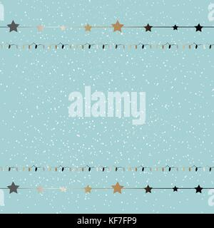 Cute Winter Background with golden lights and stars on subtle background with falling snow. Vector Illustration - Stock Photo